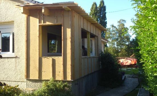 Construction ossature bois rouen extension maison bois for Agrandissement maison 76